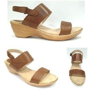Leather Low Platform Heel Sandal