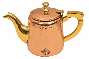 Copper Hammered Tea Pot With Inside Tin Lining And Brass Handle