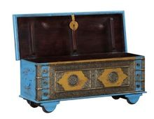 Antique Handpainted Trunk Box