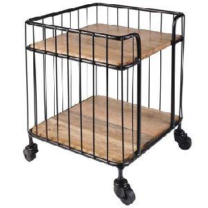 Industrial Wood Metal Kitchen Bar Serving Cart