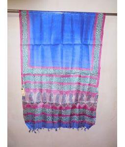 Blue Tussar Silk Dupatta