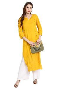 Women's Yellow Rayon Straight Kurta With Pocket