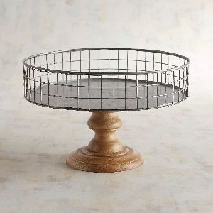 Metal Wire & Wood Cake Stand