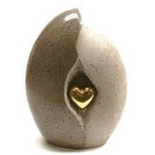 Adult Urn With Brass Heart For Human Ashes
