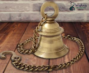 Brass Temple Hanging Bell With Chain