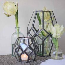 Black Metal Glass Plant Terrarium Table Decoration
