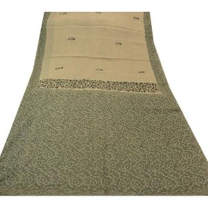 100% Pure Cotton Batik Saree Cream Printed Sari Craft Fabric