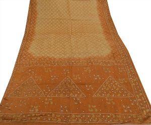 Anskriti Antique Vintage Indian 100% Pure Silk Saree Hand Beaded Fabric Sari
