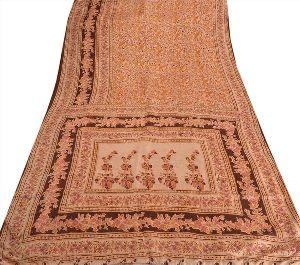 Antique Vintage 100% Pure Silk Saree Cream Printed Sari D?cor Craft Fabric