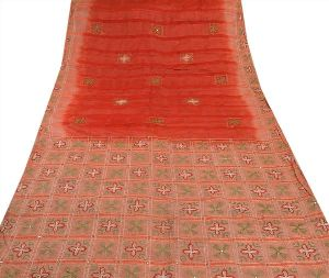 Silk Hand Embroidered Craft Fabric Cultural Sari