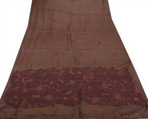 Vintage Indian Saree 100% Pure Cotton Embroidered Woven Cream Craft Fabric Sari