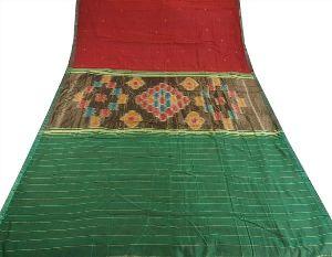Vintage Indian Saree Hand Woven Patola Sari Fabric Pure Cotton Green Maroon