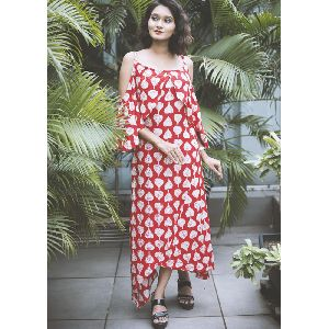 Ravishing Rayon Red Printed Dress