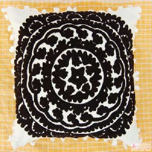 Black Woolen Embroidered Cushions