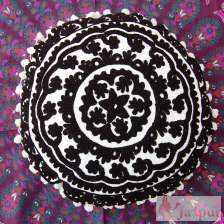 Black Woolen Embroidered Suzani Cushion Cover-craft Jaipur