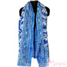 Blue Hand Block Printed Cotton Scarf Women Boho Fashion Shawl