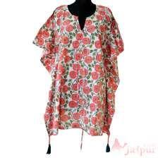 Handmade Short Beach Wear Dress Kaftan Summer Caftan Cotton Poncho-craft Jaipur