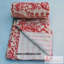 Floral Printed Indian Cotton Gudari Blanket, Handmade Kantha Quilt Throw