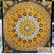 Large Yellow Star Mandala Wall Hanging ,psychedelic Tapestry-craft Jaipur