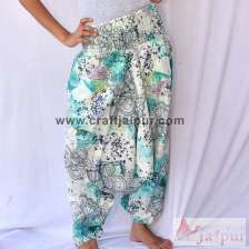 White Printed Handmade Cotton Trouser Women Yoga Harem Pants-craft Jaipur