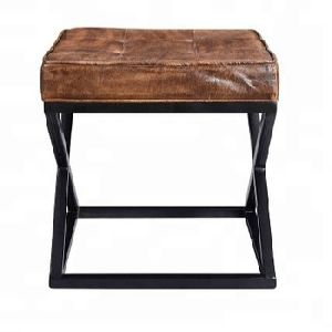 INDUSTRIAL LEATHER TOP IRON STOOL