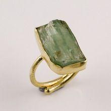 Natural Green Kyanite Raw Gemstone Gold Plated Ring