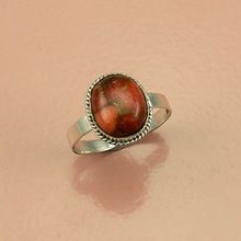 Orange Copper Turquoise Silver Ring
