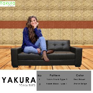 Yakura Self Adhesive Foam Wall Tiles (diy) (red Brown & Stone Beige)- Made In Korea