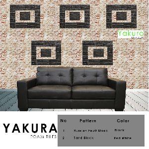 Yakura Self Adhesive Foam Wall Tiles (diy) (red White & Black)