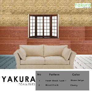 Yakura Self Adhesive Foam Wall Tiles (diy) (stone Beige & Cherry)- Made In Korea