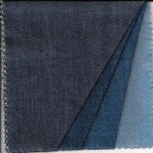 DENIM FABRIC of Cotton Poly Spandex, 8.5 ozs Dark INDIGO Stretch Twill