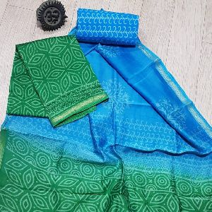 Chanderi Hand Block Printed Silk Suits