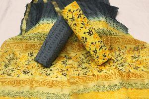 Cotton Suit With Kota Doria Silk Dupatta