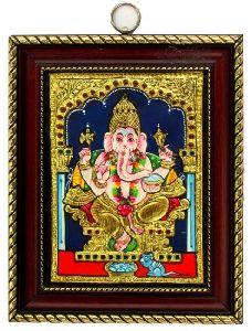Ganesh Tanjore Painting - 22 Carat Gold Foil