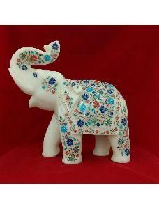 Makrana Marble Elephant Inlaid With Semi Precious Stones