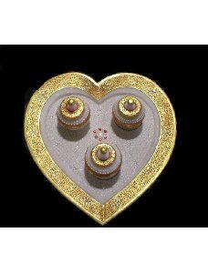 Malvia Marble Tray Heart With 3 Small Box