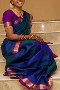 Blue Colored Soft Silk Printed Designer Saree Sf143