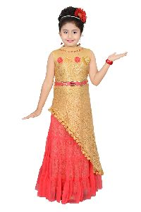 Girls Partywear Top And Skirt Set