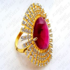 Big Chunky Diamond Gold Plated Look Fine Cz Ruby Stone Studded Party Finger Ring