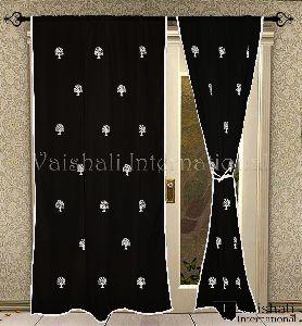 2 Pcs Cotton Rod Pocket Black Long Door Living Room Curtain Panels Semi Transperant