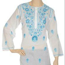 Embroidered Chikan Blouse Shirt Kurta