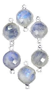 Sterling Silver Round Rainbow Moonstone Connector