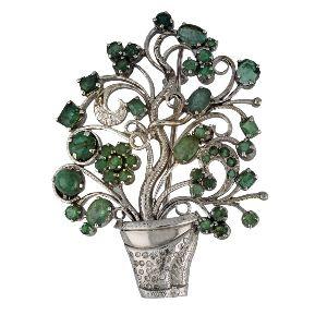 Emerald Diamond Silver Brooch