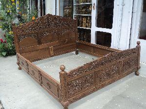 Designer Carved Wooden Double Bed