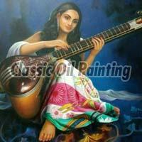 Indian lady with sitar oil painting.