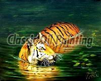 Indian tiger oil painting