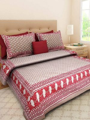 Cotton Beautiful Printed Double Bedsheet With 2 Pillow Covers