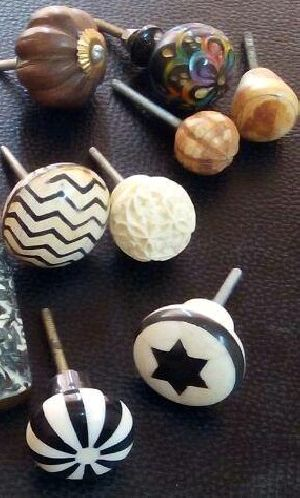 Horn Bone Resin Wood Brass Door Knob