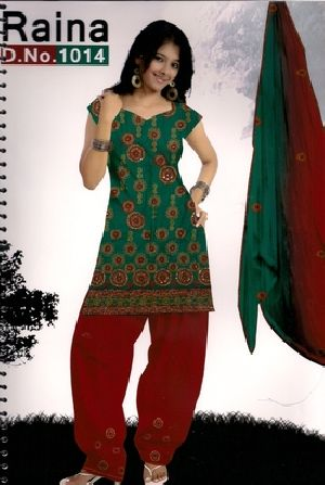 Synthetic Printed Punjabi Suit