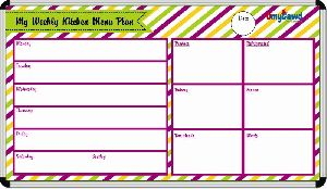 Weekly Kitchen Menu Plan Board